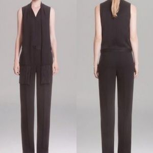 Sandro sleeves jumpsuit with fringe scarf black